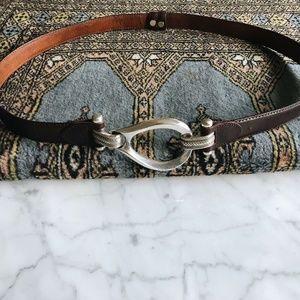 Vintage Adjustable Silver Brown Leather Waist Belt